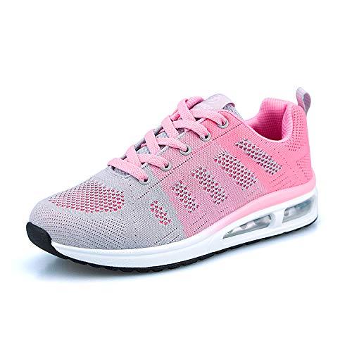 ANBIWANGLUO Damen Turnschuhe Atmungsaktiv Laufschuhe Leichtgewichts Sportschuhe Luftkissen Hallenschuhe Outdoor Fitnessschuhe Gym Schuhe Pink 37 EU