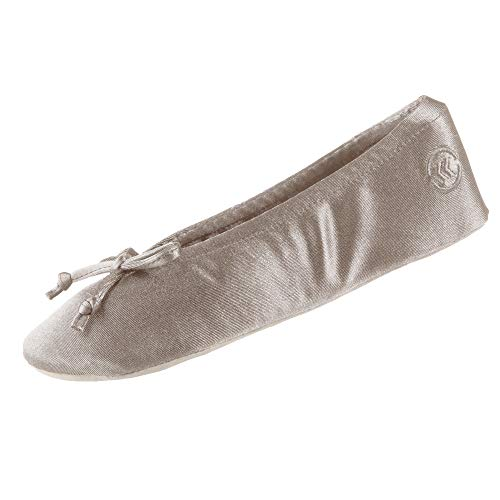 isotoner womens Satin Ballerina With Bow, Suede Sole Slipper, Sand Trap Soft Tie Bow, 8 9 US