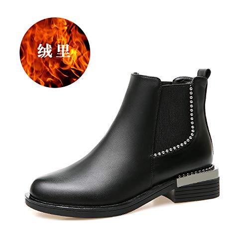 Shukun enkellaarsjes laarzen herfst en winter zwart platte bodem Wild kleine dames laarzen student Martin laarzen damesschoenen