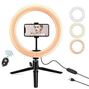 Xumemall 10.2 inch LED Ring LightWith Tripod Stand & Phone Holder, 32.8 ft Bluetooth Remote Control, 3 Color Modes & 10 Level Dimmable Selfie Beauty Light, Fill Light Perfect For Live Stream/Makeup/YouTube Video/TikTok