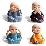 Nothers Gzhaizhuan - 8 figuras pequeñas de monje de resina para decoración del interior del coche, con películas de doble cara
