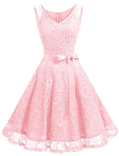 Dressystar DS0010 Robe Femme soirée/Demoiselle d'honneur/Bal Col en V sans Manches Dentelle avec Une Ceinture Rose XL
