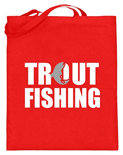 Schuhboutique Doris Finke UG (haftungsbeschränkt) Forellen Angeln fangen fischen - Jutebeutel (mit langen Henkeln) -38cm-42cm-Rubinrot
