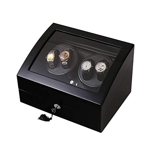FFAN Caja de Relojes mecánicos, enrollador de Reloj 4 + 6 Motor silencioso de Fibra de Carbono - 5 Modos de rotación Good Life