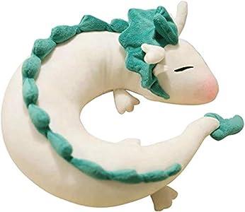 Anime Cute White Dragon Almohada cervical en forma de U, almohada de viaje de peluche, lindo y pequeño dragón blanco Chihiro animación japonesa