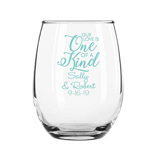 Onze liefde is een van een soort gepersonaliseerd 11oz Stemless wijnglas