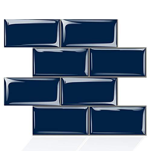 Fawyhr Pegatina de pared autoadhesiva azul oscuro de la imitación 3D Etiqueta engomada de la pared de la pared del interior del fondo de la televisión de la pared de la pared del fondo de la televisió