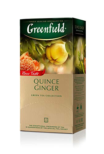 Greenfield Quince Ginger Green Tea Fruit & Herbal Collection 25 Teabags The Execptional Freshness Of Tea Is Guranteed By The Special Foil Sachet