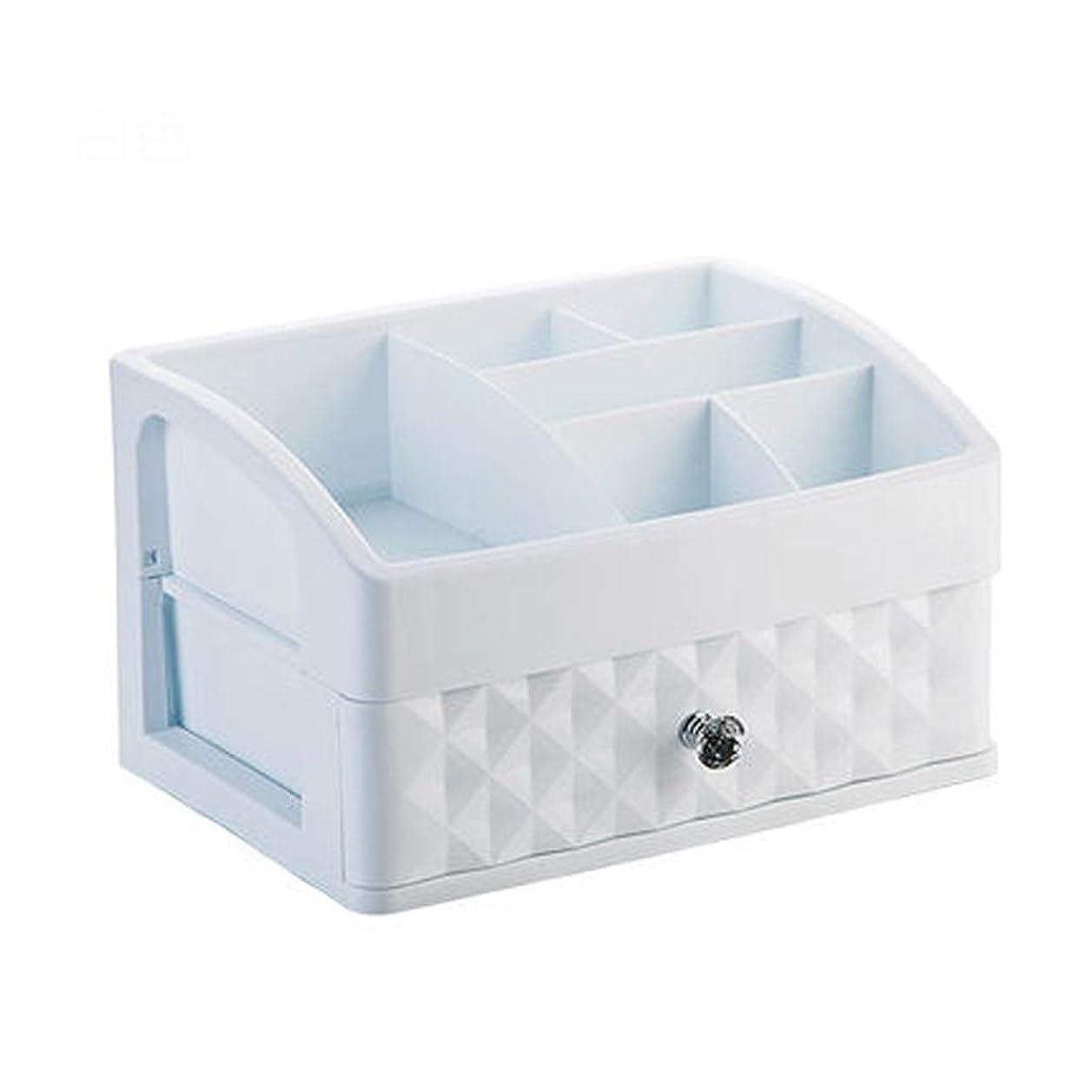 かけがえのないドロップ盆プラスチックシンプルな化粧品収納ボックスデスクトップ口紅ジュエリースキンケア製品収納ディスプレイボックス27.3 * 19.6 * 15.7 cm(色:白)