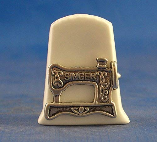 Birchcroft Porselein China Collectable Thimble - Antieke Singer Naaimachine