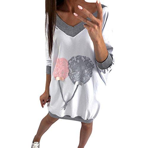 VECDY Damen Pullover,Räumungsverkauf- Herbst Neue Frauen Mode V-Ausschnitt Sweatshirt lose Bluse Tops Kleidung T-Shirt Lässige Ballonprint Pullover Sport Pullover Warme Jacke(Weiß,52)