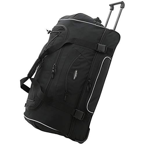 Travelers Club Unisex-Adult Adventure Upright Rolling Duffel Bag, Black, 22-Inch