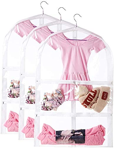 3 Packs Clear Kids Dance Costume Garment Bags, Foldable Travel Storage Cover Bag with Full Zipper, Dustproof Clothes Hanging Protector Cover CYFC271