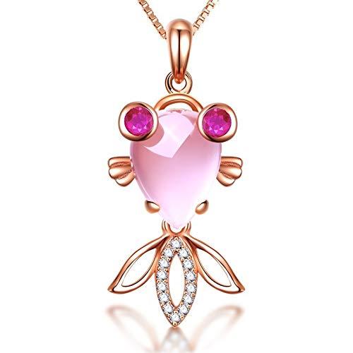 WHX Halskette Damen, Halskette Damen,Halskette verchromt Rose Gold natürliche Hibiskus Steinpulver Kristall kleine Kim Anhänger Schlüsselbein Kette Schmuck