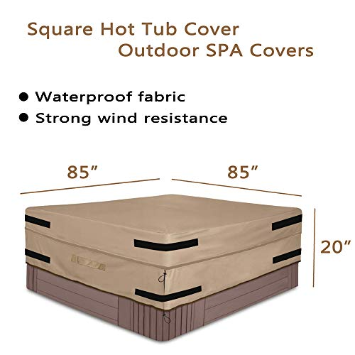 SOKINGCOVER Square hot tub Cover Outdoor SPA Cover 85 x 85-inch Waterproof Heavy-Duty 600D Oxford Fabric