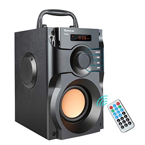AWIS Altavoz Inalámbrico Bluetooth con Control Remoto,Altavoces de Graves Estéreo Subwoofer,Caja de Sonido de Columna,Soporte FM Radio TF AUX USB,Black