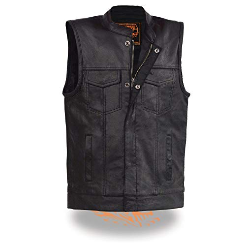 Milwaukee Leather LKY3850 Youth Size Open Neck Snap and Zip Front Club Style Leather Vest - 18