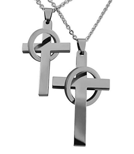 Hanessa Gravierte Partner Ketten Kreuz mit Datums Gravur auf der Rückseite aus Edelstahl in silber Geschenk Schmuck für Paare Mann und Frau