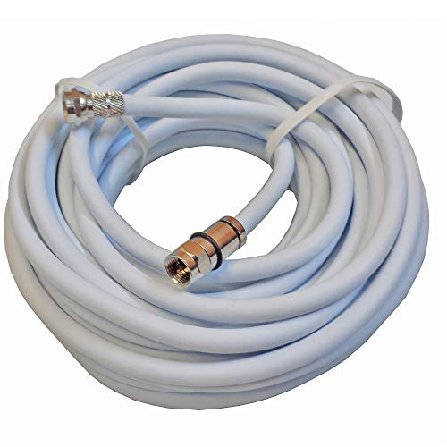 HQ Outdoor - Juego de cables de conexión F 7,5 m, para conexión LNB, multiinterruptor, DVB-T, alargador, cable coaxial, resistente a la intemperie, bridas (blanco)