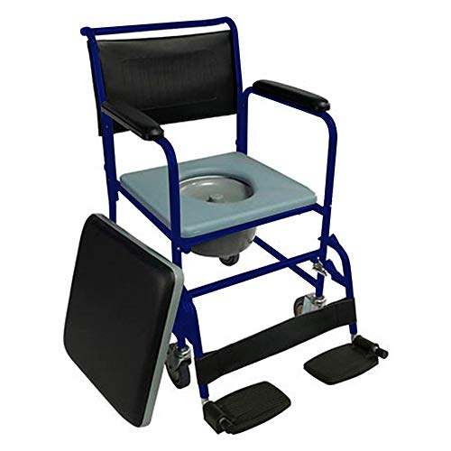 Mobiclinic, Barco, Silla con WC o inodoro para ancianos, discapacitados, minusválidos, Silla orinal con ruedas, Plegable, Reposabrazos, Asiento ergonómico, Conteras antideslizates, color Azul