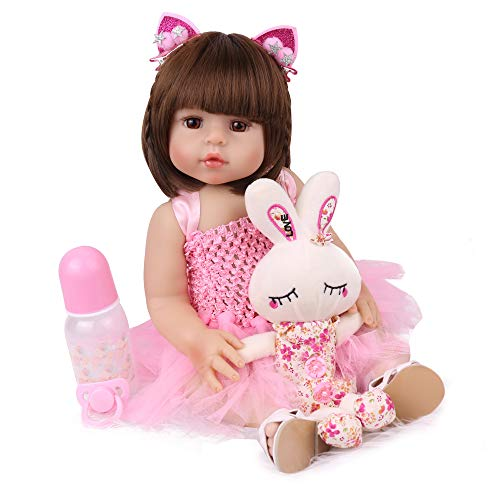 CHAREX Reborn Baby Dolls Silicone Full Body, 18 inch Reborn Girl Doll Waterproof Bath Doll for Children Toddler Gift Set