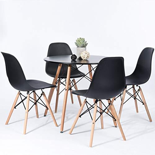 Generic - Juego de Mesa Redonda y sillas de Comedor y Mesa de Centro de Oficina, Mesa de cafe de Madera, Color Negro