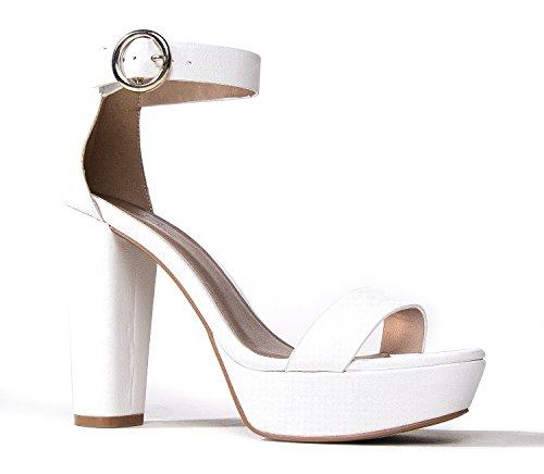 J. Adams Arianna Platform Heels - Classic Buckle Ankle Strap Dress High Sandals
