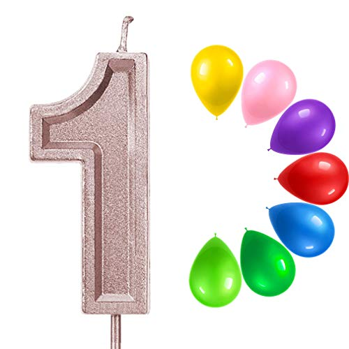 ZWeihua Glitter 1 Birthday Candle, Number 1 Candle for Birthday Cake, Number Candle with Colorful Balloons Together for Cake Topper Decoration for Boys Girl Kids Adults Birthday Party