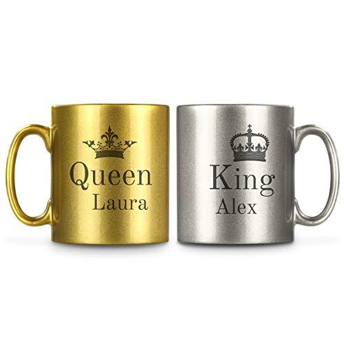 Partnertasse King & Queen mit Namen in Metallic-Gold und -Silber | 2 Kaffeebecher mit Wunschnamen aus Keramik | Valentinstag