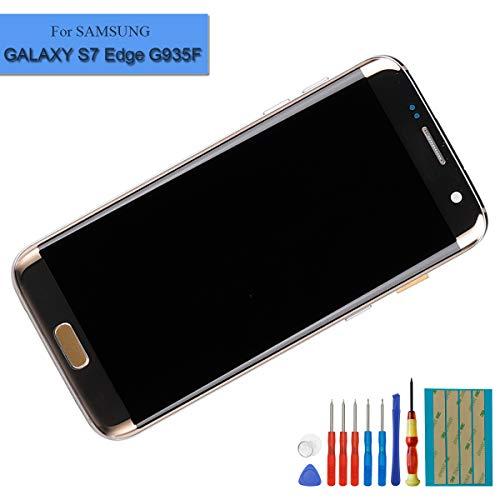 E-YIIVIIL Neuer Super Amoled Display kompatibel mit Samsung Galaxy S7 Edge G935F Display Touchscreen Bildschirm Digitizer Assembly Gold Glas with Rahmen+Tools