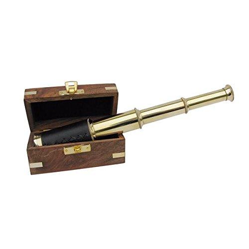 Antik Fernrohr Messing Teleskop ausziehbar auf 25cm mit Leder in Holzbox 8214