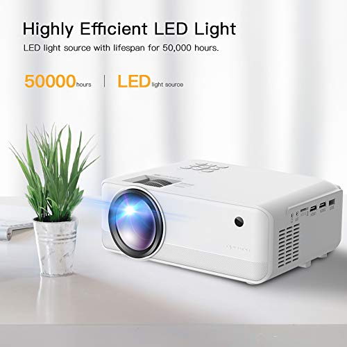 Mini Projector, APEMAN 5000 Lumen 1080P Supported Projector, 200'' Display 50000 Hrs LED Life, Dual Speakers Portable Projector, Compatible with HDMI, USB, VGA, TF, PS4, Laptop, DVD for Home Cinema