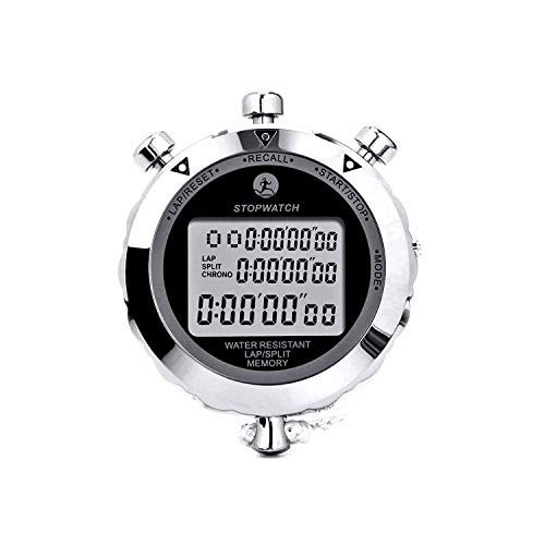 Rolilink Stopwatch, Metal Stop Watch 10 Lap Memory Stopwatch Timer, Countdown Timer Stopwatch for Sports, Competitions, Games