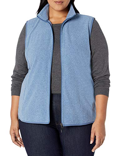 Amazon Essentials Women's Plus Size Full-Zip Polar Fleece Vest, Blue Heather, 1X