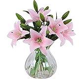 MEIWO Fiori Artificiali, 5 PCS Real Touch Lattice Lilies Artificiali Fiori in Vasi Mazzo di Nozze/Decorazione Casa/Partito/Graves Arrangiamento(Rosa)