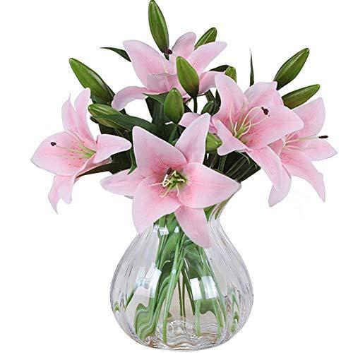 MEIWO Künstliche Blumen, 5 Stück Real Touch Latex Künstliche Lilien Blumen in Vasen Hochzeit Sträuße/Home Dekor/Party/Graves Arrangement(Rosa)