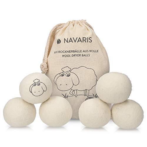 Navaris Bolas para Secadora y Lavadora de Lana - Pelotas para secar la Ropa sin Usar suavizante - Dryer Balls de Lana de Oveja Reutilizables