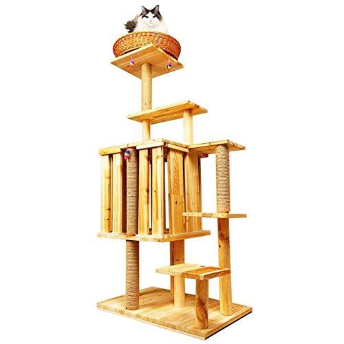 XinQing-Parque Infantil para Gatos Columpio Gato, Gato de la litera de Madera Maciza, de 6 Capas de la Plataforma de Salto, sisal Natural Columna, Rattan Cama del Gato, 145x40x60cm