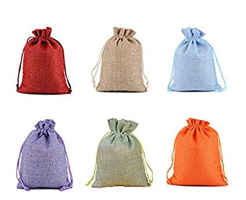 24 Pcs Sacs de Toile de Jute Pochettes de Bijoux avec des Cordons pour Les Cadeaux de faveur de Noce Emballage DIY,Calendrier de l'Avent Sac en Toile de Jute Sac Cadeau pour Remplir -13*18,6 Couleurs