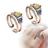 Anillo arcoíris de doble banda en 2020 | 2PCS S925 Rainbow Rings, Rainbow Gemstones | Joyería de moda hecha a mano de Boho | Regalo de joyería para mujeres y hombres