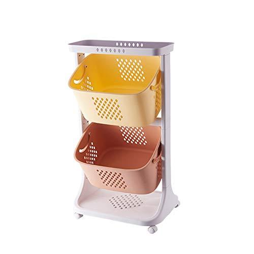 Carrito de Almacenamiento Cocina Piso Mobile Mobile, Cesta De Almacenamiento De Juguetes, Organizador De Refrigerios Para Niños, Carrito De Rack De Plástico para 2/3 De 3 Capas Para Sala De Juegos