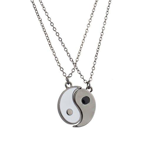 Accesorios Lux gris y blanco de Yin y Yang de la Paz con un impotente mejores amigos collares