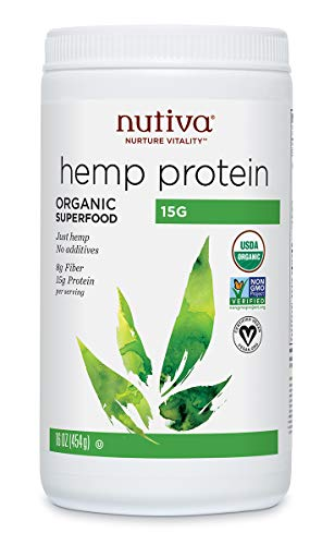 Nutiva Organic, Cold-Processed Hemp Protein from non-GMO, Sustainably Farmed Canadian Hempseed, 15 G, 16 Ounces