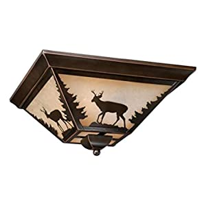 Burnished Bronze Bryce 3 Light Flush Mount Indoor Ceiling Fixture with Deer Portrait Glass Shade - 14 Inches Wide