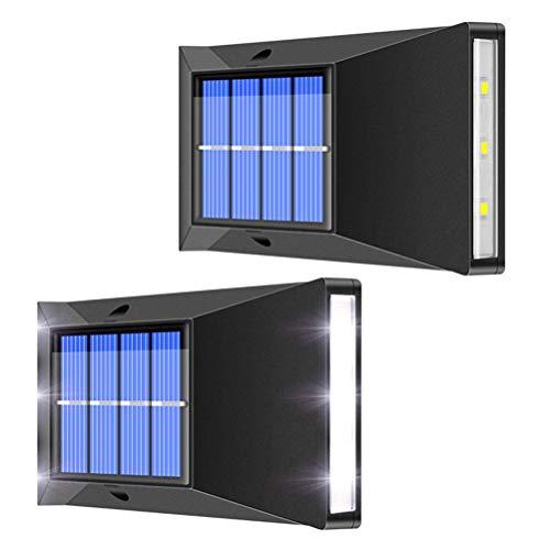 OUCRIY 2 lámparas solares de pared para jardín de luz, 6 luces LED cuadradas para exterior, lámpara de pared para jardín, patio, yard