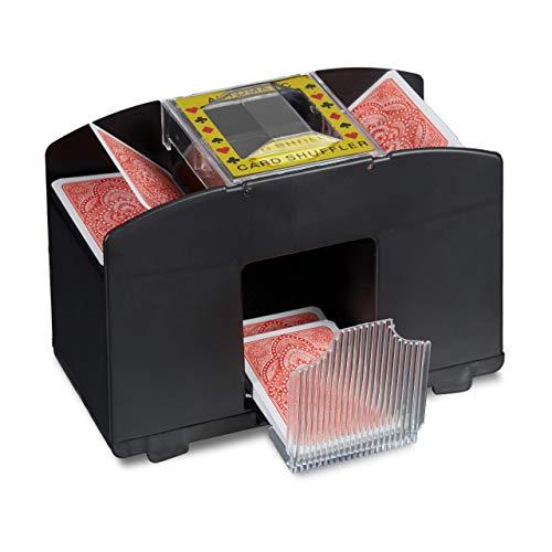 Relaxdays 10020521 Kartenmischmaschine Elektrische Mischmaschine als Kartenmischgerät batteriebetrieben zum Mischen von Karten beim Pokern, Rommé und Skat auf Knopfdruck Karten sortieren, Schwarz
