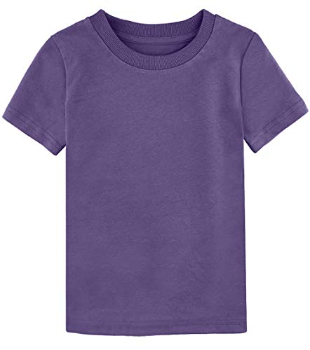 COSLAND Toddler Casual Solid Color T-Shirt, Purple, 4T