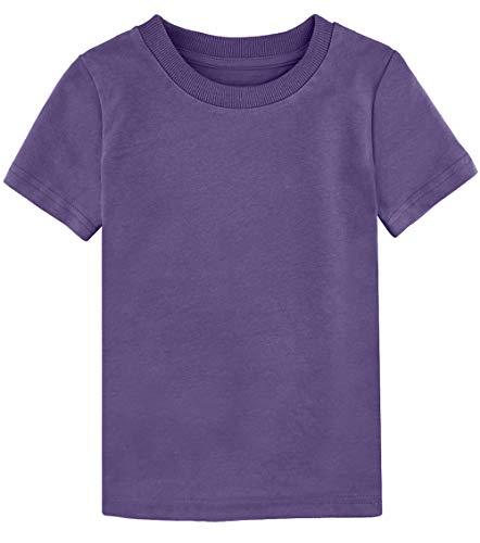 COSLAND Youth Kids' Cotton Plain T-Shirt, Purple, Small