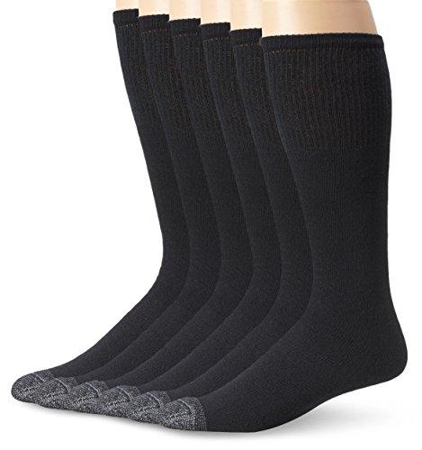 Fruit Of The Loom Men's 6 Pack Cushioned Over The Calf Tube Socks, Black, Sock Size:10-13/Shoe Size: 6-12