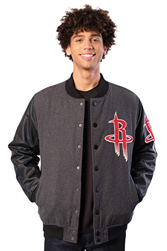 Ultra Game NBA Houston Rockets Mens Full Zip Classic Varsity Jacket, Charcoal Heather, Large